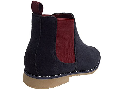 Foster Footwear ,  Jungen Unisex Erwachsene Herren Damen Chelsea Boots Marineblau / Burgunderrot
