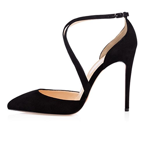 Edefs Senhoras Sapatos De Salto Alto Bombas De Sapatos De Salto Agulha Cinta De Camurça Cruzadas Com Fivela Preta