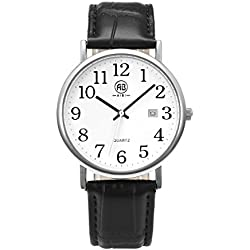AIBI Waterproof Unisex Dress Watch Black Leather Strap with Date Function