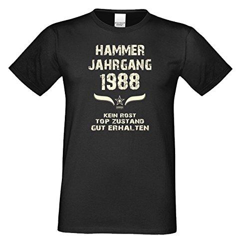 Geschenk Set : Geschenkidee 29. Geburtstag ::: Hammer Jahrgang 1988 ::: Herren T-Shirt & Urkunde Geburtstagskind des Jahres ::: Farbe: schwarz Schwarz