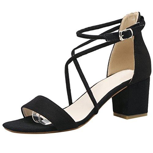 Vogstyle Nuovo Donna Sandali Punta Aperta Alla Caviglia Scarpe Con Cinturino Stile 2-Nero