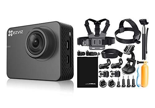 Ezviz S2 Lite Sport & Dash Camera DELUXE EXTRA, risoluzione Full HD, WiFi, Bluetooth 4.0, modalità Sport e Guida, kit con 18 accessori per Action Cam incluso, Grigio