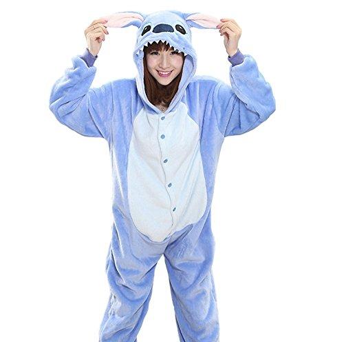 Imagen de disfraz de carnaval halloween pijama de animales kigurumi cosplay zoo onesies stitch azzurro large