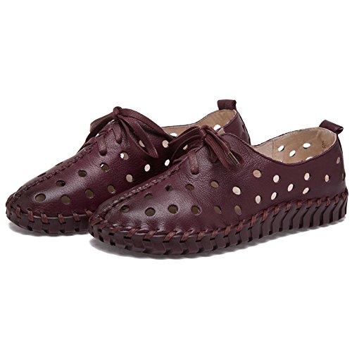 Shenn Damen Hohl Freizeit Niedrige Ferse Komfort Intelligent Leather Sneaker Schuhe Burgund