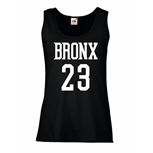 Damen Tank-Top Bronx 23 - Street Style Mode (Medium Schwarz Weiß)