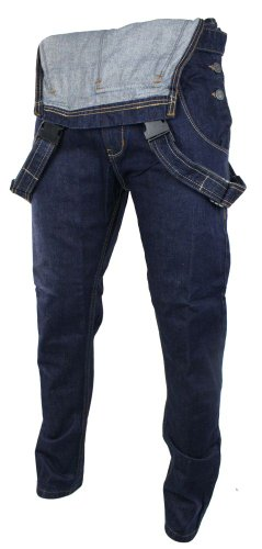 Herren Latzhose Jeans Marineblau Straight Schnitt Retro Vintage Lässig Marineblau