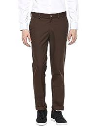 London Bridge Men's Dark Brown Slim Fit Casual Trouser