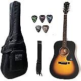 Epiphone DR-100, Dreadnaught Acoustic Guitar With Bag, Belt & Plectrums Combo Pack. (Sunburst)