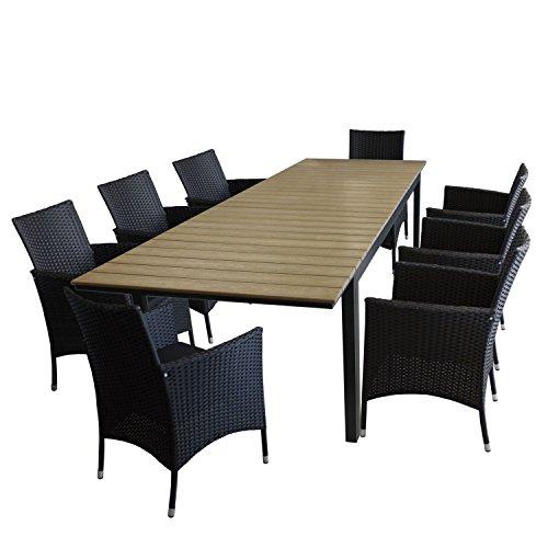 9tlg. Sitzgruppe Gartenmöbel Set inkl. Ausziehtisch mit Alurahmen, Polywood Tischplatte Brown-Grey, 280/220x95cm + 8x Rattansessel, Polyrattanbespannung Schwarz, inkl. Sitzkissen - Sitzgarnitur Gartengarnitur