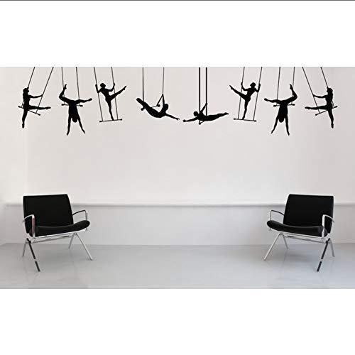 jukunlun Karneval Zirkus Leistung Große Trapeze Künstler Silhouette Wandtattoos Home WohnzimmerKühlenDekorWandaufkleberPoster40X174 Cm