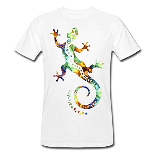 Spreadshirt Gecko Eidechse Lizard Reptil Männer Bio-T-Shirt, XL, Weiß (Weihnachts-gecko)