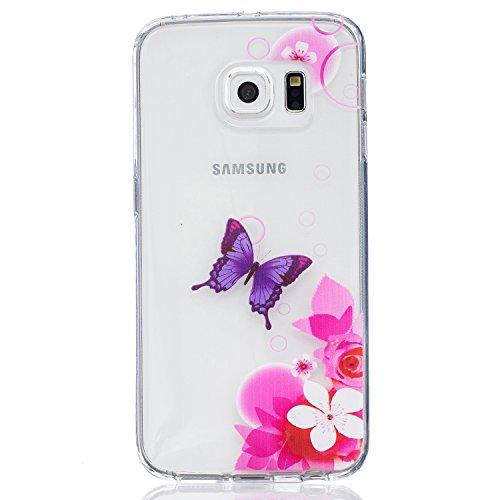 CaseHome Samsung Galaxy S6 Edge Silikon-Gel TPU Ultra Dünner Stilvoller Schöner Eleganter Netter Einzigartiger Prägeartiger Muster-Entwurf (mit freiem Griffel) Weicher Gummi-transparenter TPU Stoßdämp Lila Schmetterling, rosa Blume