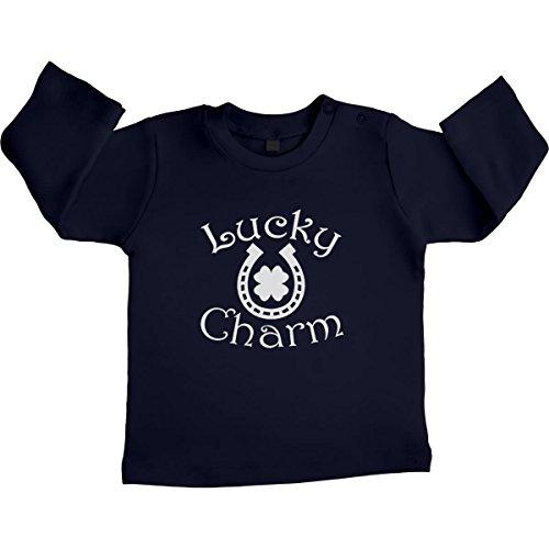 Baby lucky charm Kleiner Glücksbringer Unisex Baby Langarmshirt Gr. 66-93 6-12 Monate / 76 Marineblau (Bischofs Blau Kleid)
