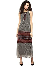 Taurus Women's Georgette Beige Horizon Maxi Dress