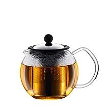 Bodum 1807-16 ASSAM Tea Press, Permanent Filter, Glass Handle, 0.5 L/17 oz) - Black/transparent