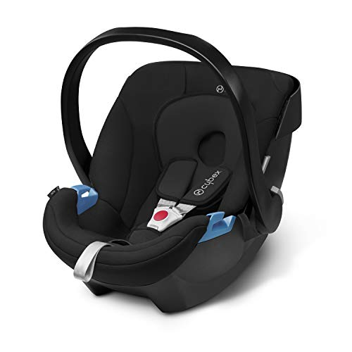 CYBEX Silver Aton Infant Car Seat, Incl. Newborn Insert, Group 0 (0-13 kg), from Birth to Approx. 18 Months, Pure Black
