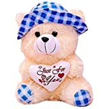 Yashika toys Cream & Blue Color Cap Teddy Bear 30 cm
