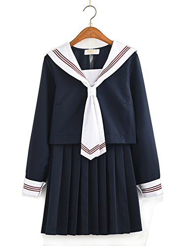 Girl Cute Kostüm School - Olanstar Women's Japanese High School Uniform Anime Cosplay JK Costume Set Sailor Suit for Girl Black