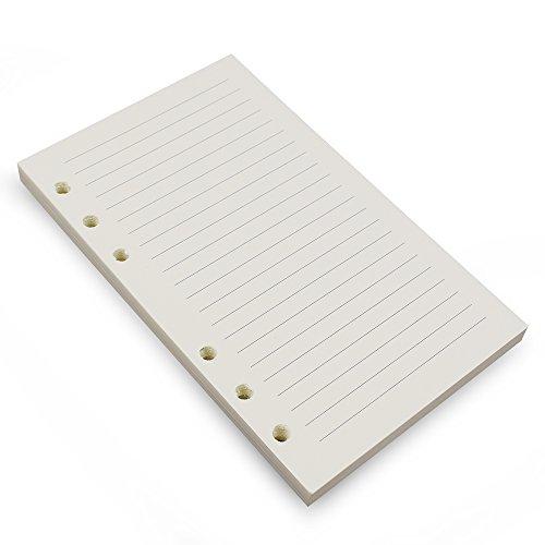 6-ring A6Binder Planner Refill, nachfüllbar mit 6Loch, 3/4x 1/8Zoll für lose Ringe Tagebuch Notizbuch Traveler mit Einsätzen, 80Blatt/160Seiten, blanko Lined White Paper