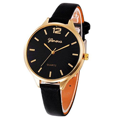 Armbanduhr, OVERMAL Frauen Damen Mode Leder Quarz Armbanduhr Uhr Für Mädchen (Schwarz)