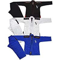 Vector Kids Brazilian Jiu Jitsu BJJ Gi with Free White Belt 100% Cotton Pearl Weave Kimono Ultra Lightweight Preshrunk Fabric