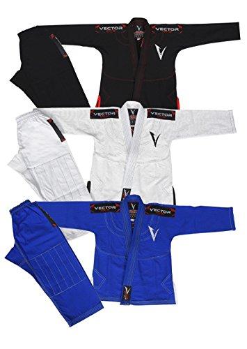 Vector Kids Brazilian Jiu Jitsu BJJ Gi mit Free Gürtel Weiß 100% Baumwolle Pearl Weave Kimono Ultra Leicht Einlaufvorbehandelt, blau (Gi Frauen Bjj)