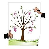 Herzl-Manufaktur Wedding Tree Mädchen Poster 30x40cm Gästebuch Taufe Partyspiel Fingerabdruckbaum Pullerparty (Girl)