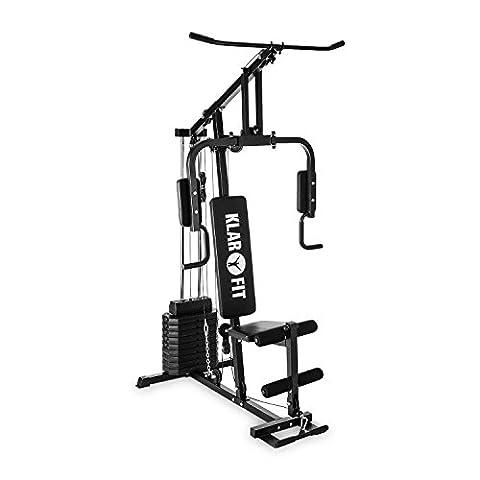 Klarfit Strong Base Home Multi Gym Force Station (100LB à 10Poids de 3câble trains, traction, biceps de curling, jambe boucleur, butterfly) - noir