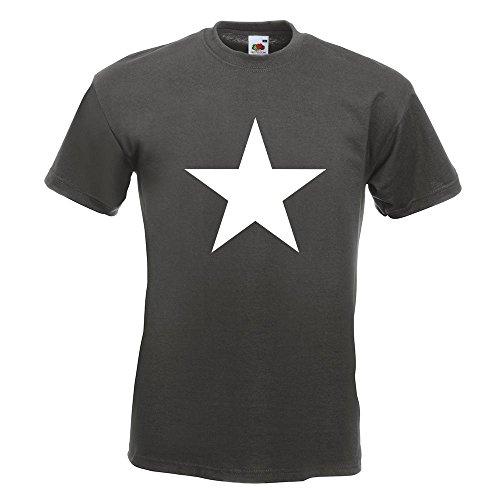 KIWISTAR - Stern Star Symbol T-Shirt in 15 verschiedenen Farben - Herren Funshirt bedruckt Design Sprüche Spruch Motive Oberteil Baumwolle Print Größe S M L XL XXL Graphit