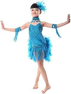 BOZEVON Niñas Vestido para Niña de Baile Lentejuelas Borla Latino Salsa ... 91e8ec8bb43