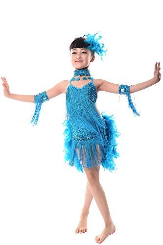 BOZEVON Kinder Mädchen Sequined Lateinisches Tassel Dancewear Tanzen -
