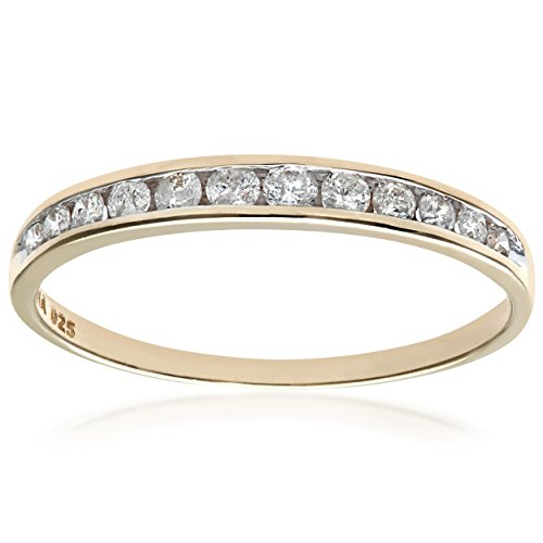 Naava Women's 9 ct Yellow Gold Quarter Carat Diamond Channel Set Half Eternity Ring, Yellow Gold, M (0.1-0.2cm thickness)