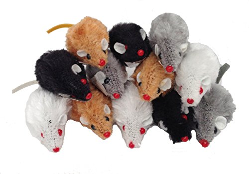 SMALL FAUX FUR MICE CAT TOYS X 12 FURRY MICE