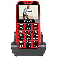 EVOLVEO EasyPhone XD Telefono Cellulare per Anziani con Supporto Caricabatteria, Rosso