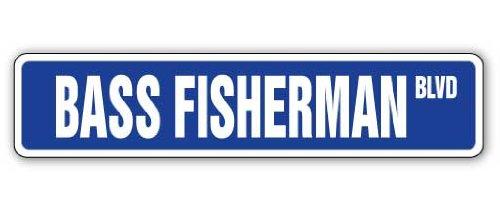 Bass Fisherman Straßenschild Fisch Angeln Boot Rute Geschenk