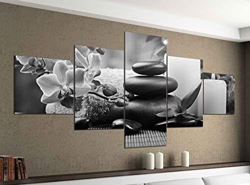 Leinwandbild 5 tlg. 200cmx100cm Wellness Steine Orchidee Kerzen schwarz weiß Bilder Druck auf Leinwand Bild Kunstdruck mehrteilig Holz 9YA1509, 5Tlg 200x100cm:5Tlg 200x100cm