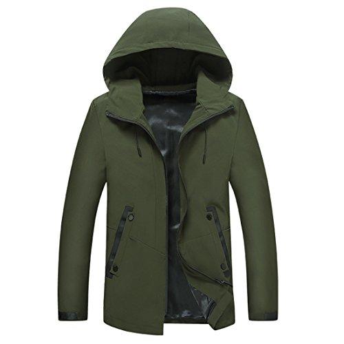 ZQ@QXLungo uomini giacca felpa con cappuccio Green