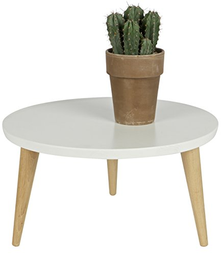 PEGANE Table Basse Simple en pin Massif, Coloris Blanc - Dim : H 32 x Ø 50 cm