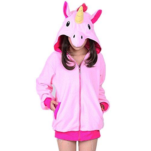 3D Einhorn Pullover Cosplay Kostüm Unicorn Schlafanzüge Für Erwachsene (M, Rose)