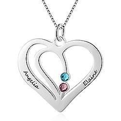 Grand Made promesse personnalisée coeur collier avec 2 collier de pierres précieuses simulées Collier pour couple Collier avec nom personnalisé Collier avec des pierres précieuses Bijoux Saint Valenti