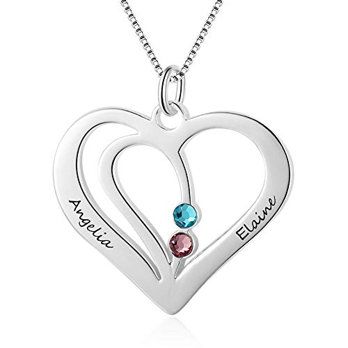 Grand Made Personalisierte Promise Herz Halskette mit 2 simulierten Birthstone Beziehungs Halskette für Ehepaar Benutzerdefinierten Namen Halskette Kette geburtsstein Valentines Day Schmuck für Damen