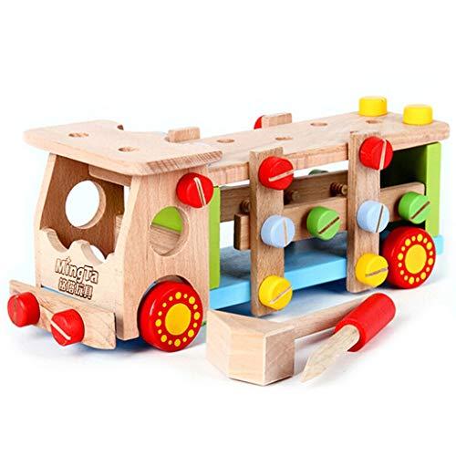 Fenfen-wj Demontage Und Klopfen Kugelgewindemutter LKW Engineering Auto 2-6 Jahre Alte Kinder Holz Zusammengebaute Kombination Bausteine   Spielzeug