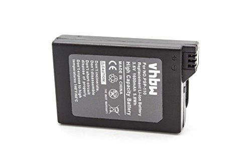 vhbw Li-Ion batería 1600mAh (3.6V) para consola Sony Playstation Portable PSP-1000, PSP-1000G1, PSP-1000G1W, PSP-1000K, PSP-1000KCW, PSP-1001