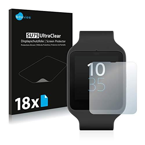 Savvies Schutzfolie kompatibel mit Sony Smartwatch 3 SWR50 (18 Stück) - ultraklare Bildschirmschutz-Folie