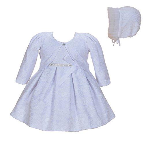 (Cinda Baby-Mädchen-Spitze-Tauf-Party-Kleid mit Mütze Weiß 56-62(Mit bolero))