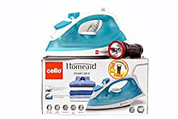 Cello Steamy Iron 200 B (1250W) Turquoise - 1 Rechargeable Torch Free