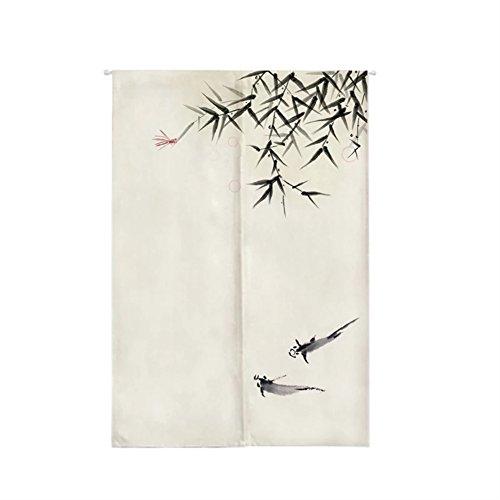 Insun Tür Vorhänge Japanische Baumwolle Leinen Noren Vorhänge Wandteppiche Raumteiler mit Teleskopstange Bambus 65cm X 90cm