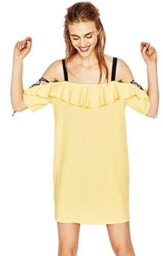 Sexy Schulterfrei Kalte Schulter Freien Offenen Schultern Schnürung Schnürschuh Boden Ärmel Rüschensaum Minikleid Shift Boxy Straight Gerade Dress Kleid Gelb Gelb