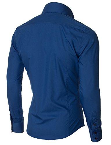 MODERNO Herren Hemd Slim Fit Langarm Button Down Kragen 1 Tasche Streifen Detail (MOD1413LS) MPSF301-Blau