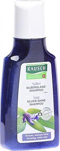 Rausch Salbei Silberglanz-Shampoo (wirkt nachhaltig dem Gelbstich entgegen für natürlichen Glanz, ohne Silikone und Parabene-Vegan), 4er Pack (4 x 40 ml)